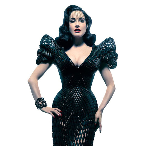 See 3D Printed Dress Worn By Dita Von Teese at Innovative Materials Exhibition