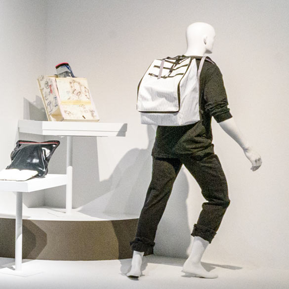 Window Display promoting backpacks