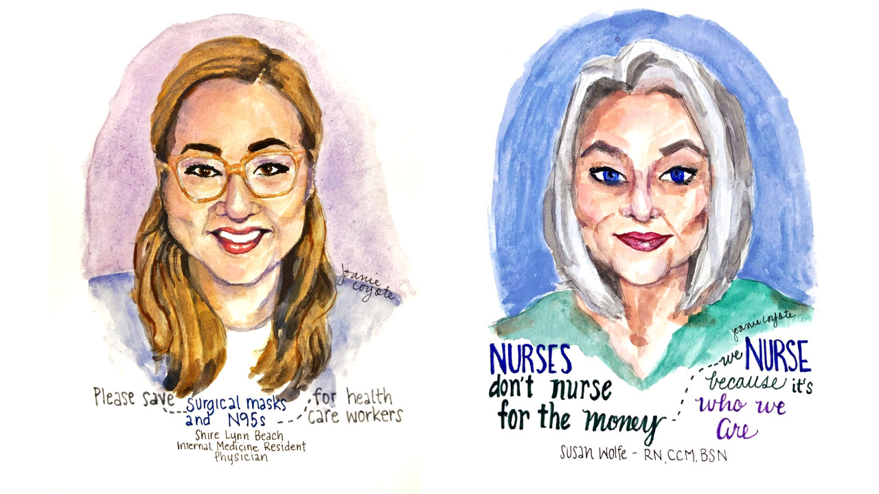 FIDM Instructor is Painting Portraits of Medical Professionals During 100-Day Art Challenge