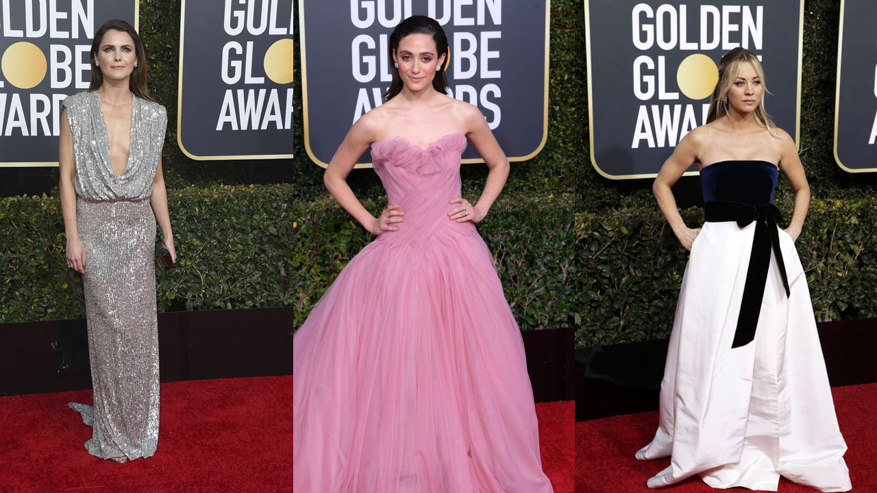 Monique Lhuillier Dresses Keri Russell, Emmy Rossum, Kaley Cuoco, and More for Golden Globes