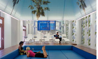 Students lounging in the pool at the Design Studio study area. L.A. Campus.