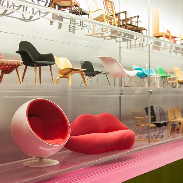 Shelves of  model chairs designed by Interior Design Students