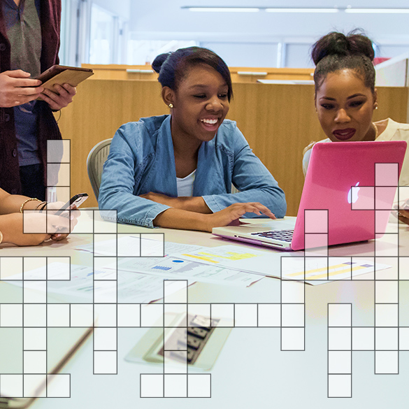 Student at table with crossword puzzle overlay