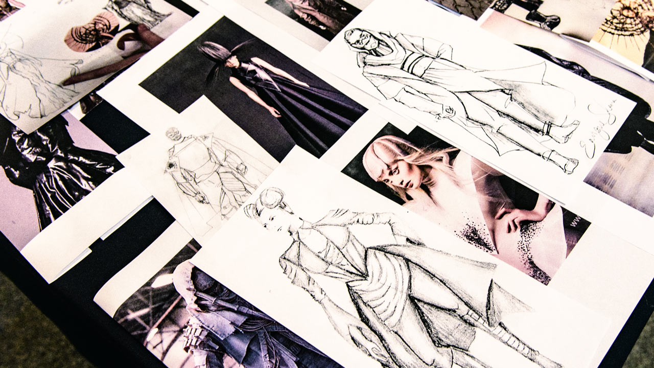 Fashion sketches and photographs