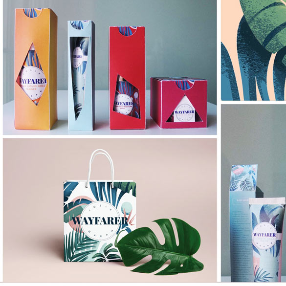 Graphic designs of various colorful products