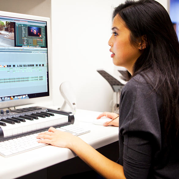 Woman editing a video