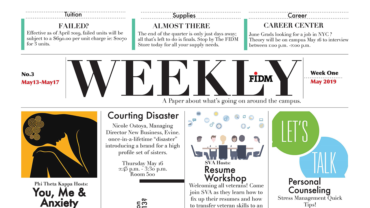 Congrats to Graphic Design Student Teresa Yang on Her Winning FIDM Newsletter Redesign