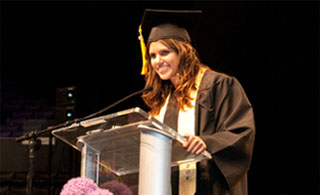 Valedictorian Leila Al-Yousef gives an inspiring speech at the FIDM Graduation.
