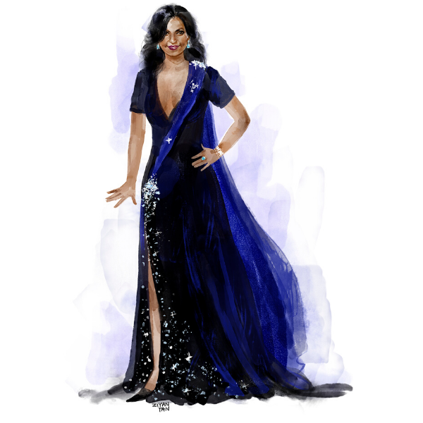 FIDM Instructor Ziyan Tan Creates Concept Illo for Salvador Perez Dress Designed for Mindy Kaling
