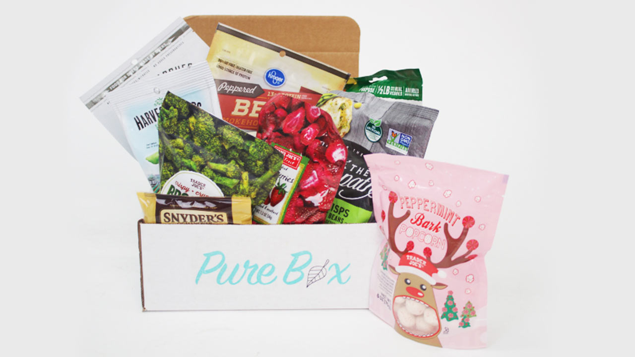 """Pure Box"" with assorted food packages"